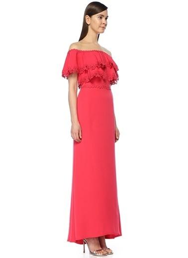 Tadashi Shoji Kayık Yaka Volanlı Abiye Elbise Kırmızı